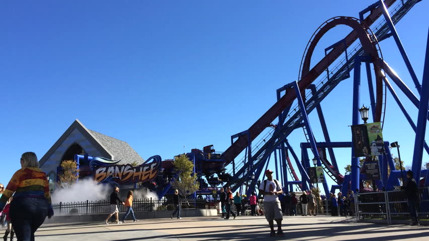 MASON, OH - CIRCA 2014: Banshee Inverted Roller Coaster at Kings Island, located in Mason, Ohio,  in the opening year of 2014.