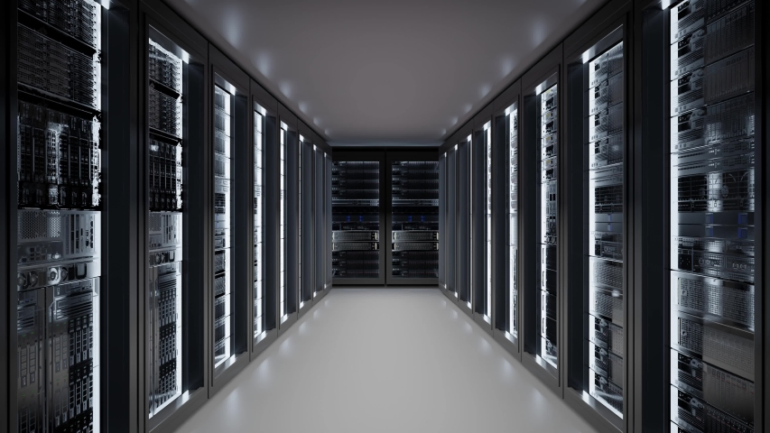 Cloud data server panels in a server room of a data center. Dolly Shot in 4K High Quality Animation Royalty-Free Stock Footage #1056201347
