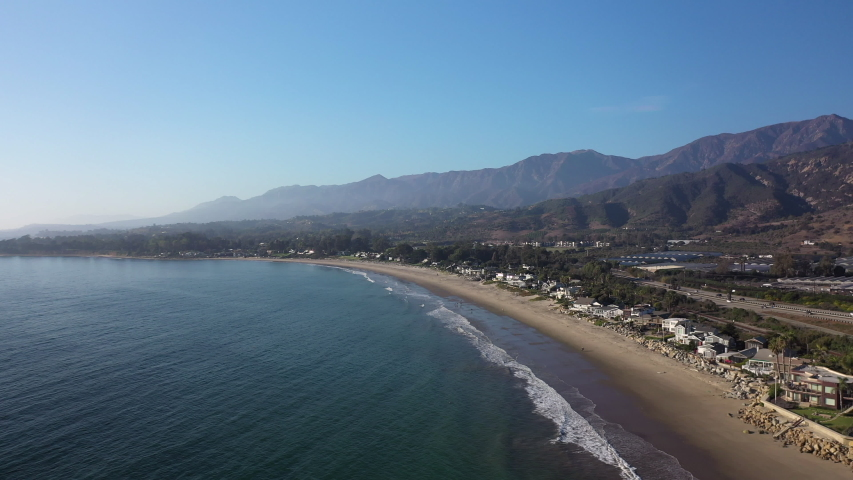 Santa Barbara California luxury coastline, Santa Ynez Mountains, drone