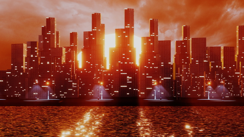 Futuristic city with skyscrapers near the water. 3D render animation. Retro city landscape urban skyline cityscape concept for video games, VJ and DJ Royalty-Free Stock Footage #1056204512