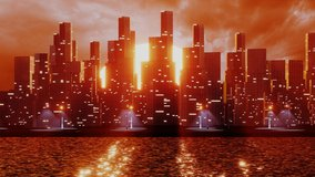 Futuristic city with skyscrapers near the water. 3D render animation. Retro city landscape urban skyline cityscape concept for video games, VJ and DJ