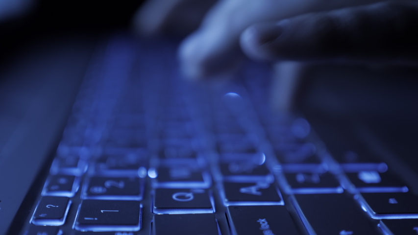 Man Writes Message to Social Network. Computer Hacker Typing Code Virus PC on Keyboard Late Night Working. Journalist Writes Article in Media. Working on Laptop, Typing on Keyboard, Modern Business. Royalty-Free Stock Footage #1056208394