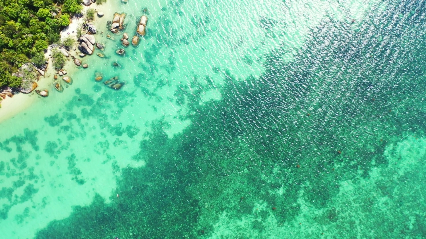 Tropical beach background. Beautiful white sandy beach with palms , rocks and turquoise seawater. aerial high angle | Shutterstock HD Video #1056216209