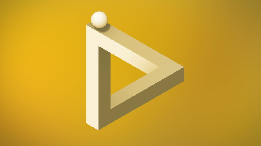 Animation the appearance of an impossible triangle. Abstract yellow background, 3d rendering, 4k resolution | Shutterstock HD Video #1056218153