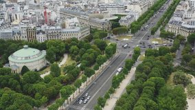 Aerial video Champs Elysees, Aerial photography of France, Drone view, Famous places of paris, main road, big road, road, Champs Elysees, Panoramic view of Paris, Paris aerial view, France