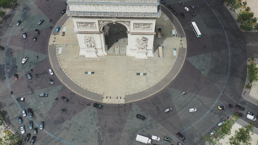 Aerial video of the Arc de Triomphe in Paris, Arc de Triomphe in Paris, Drone view in France, panoramic view of Paris, Arc de Triomphe, Famous places in France, famous places in Paris, France | Shutterstock HD Video #1056224360
