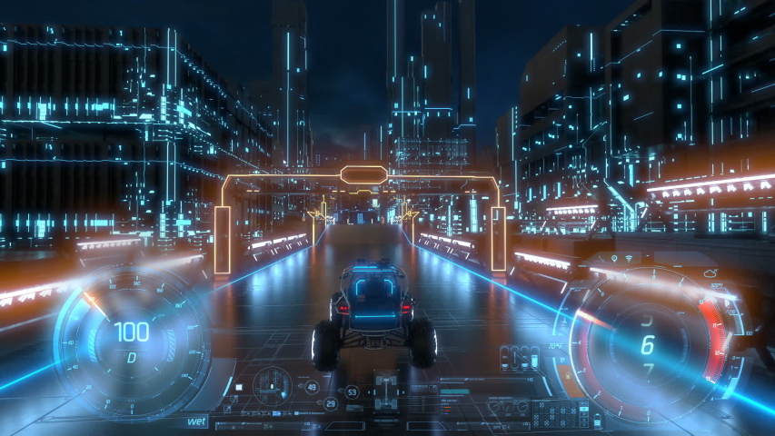 3d fake Video Game. Racing simulation. night city. tron style.Hud