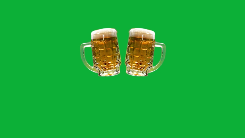 Beer Party - Beer Cheers clink 4K animation on Green screen background - Cheers to beers on chroma key background - Beer Mugs with handles with foam - Froth