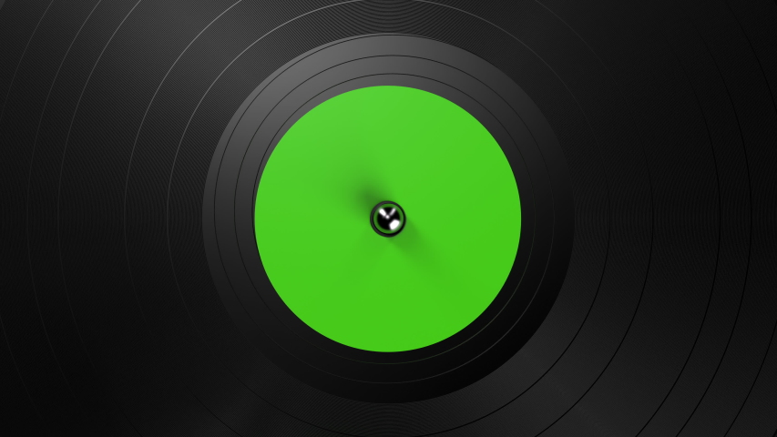 Black vinyl record on a turntable. A black vinyl background with a green sticker in the center, rotating in a circle. DJ, Disco Trends 60s, - 90s. Looped 3d animation | Shutterstock HD Video #1056234386