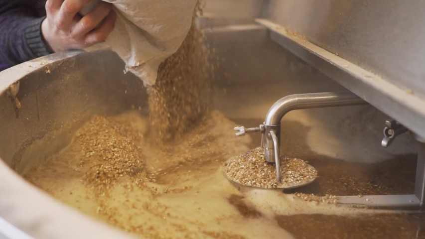Beer Production - Pouring Malt Grains Into The Large Milling Tank In The Brewery - close up slowmo Royalty-Free Stock Footage #1056241298