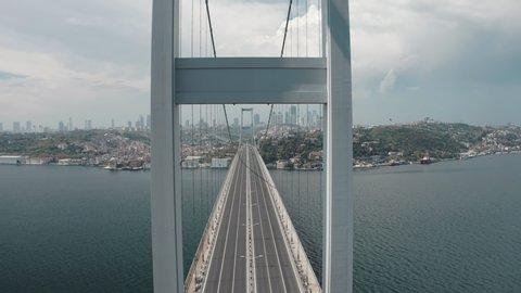 Aerial view of Bosphorus Bridge in Istanbul