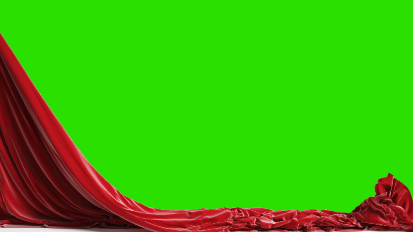 Falling red curtains with green chroma key, 4k Royalty-Free Stock Footage #1056245126