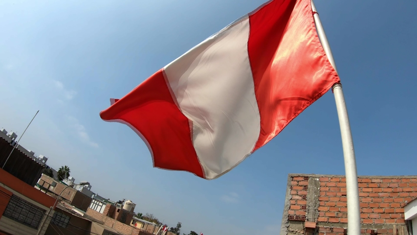 Peruvian Flag 4K. 30 fps . Peruvian flag waving in the wind. Slow motion