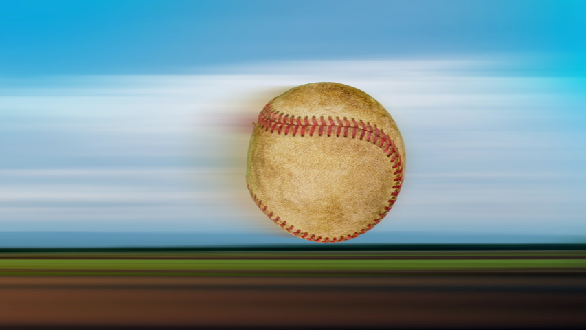 Speed of one old leather baseball flying and rotating in the air on nature background