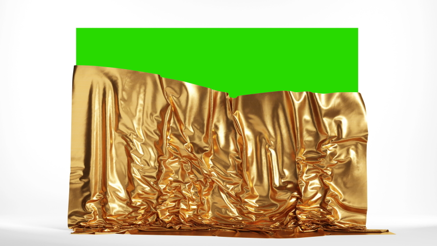 Presentation screen with a golden cloth. Falling curtains on green chroma key, 4k Royalty-Free Stock Footage #1056258107