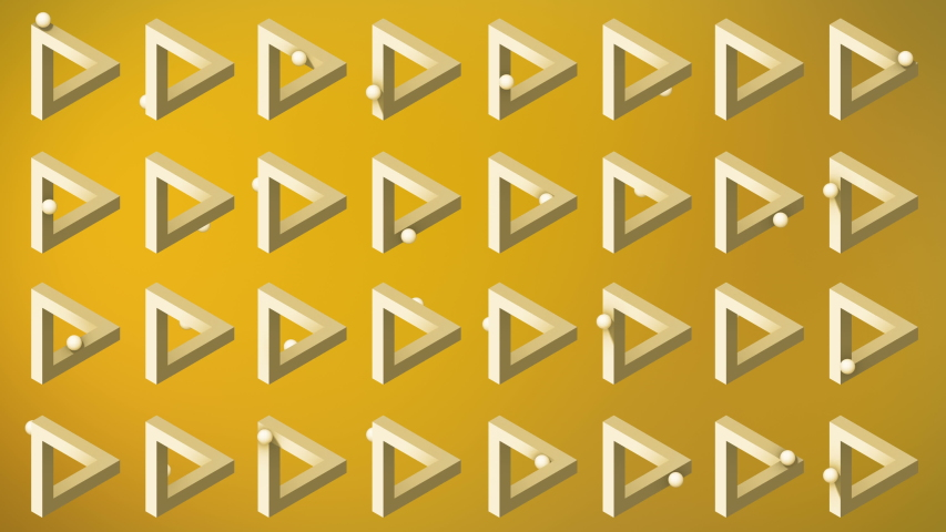 Animation the appearance of an impossible triangle. Abstract yellow background, 3d rendering, 4k resolution | Shutterstock HD Video #1056262799