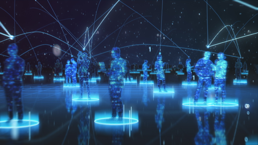 Happy People using Smartphone Devices in World Wide Connected Social Network. Diverse People do E-Business, Communicate, Send Messages. Visualization of Internet Virtual Reality Interconnected Persons | Shutterstock HD Video #1056263516