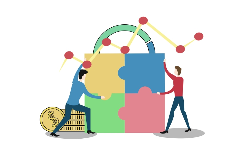 Teamwork concept. Cartoon two people character lifting and assembling big jigsaw puzzle pieces together with growth business chart background. Shot in 4k resolution