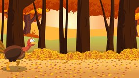 Thanksgiving Turkey Bird Cartoon Character Running In The Forest. 4K Animation Video Motion Graphics With Background