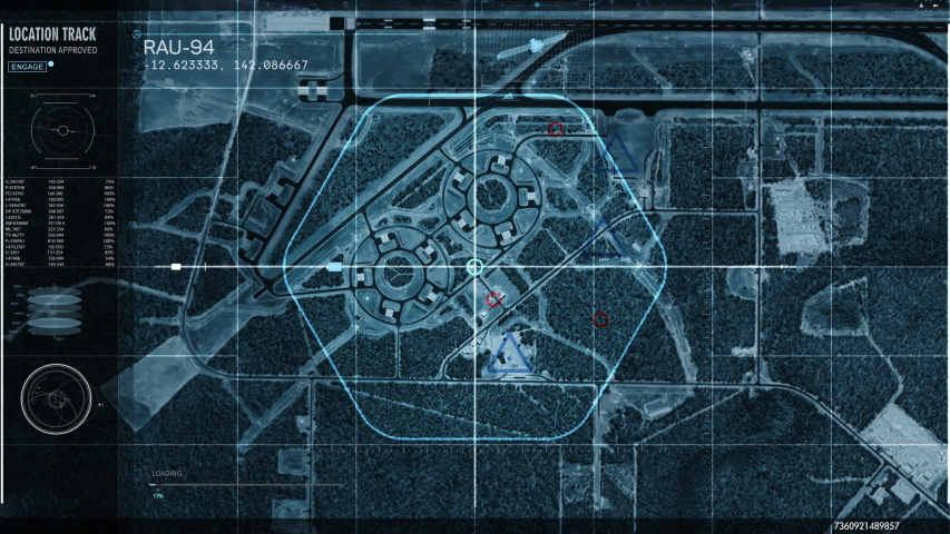 Secret satellite spy system. Camera detects Military base in Australia. The map shows at tghe computer screen. modern user interface.