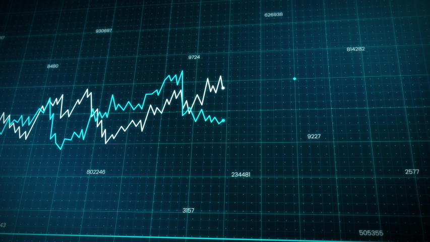 line chart of two business competitions. growing and drop down lines indicating graph hi-tech style technology animation. 4K resolution Royalty-Free Stock Footage #1056281312