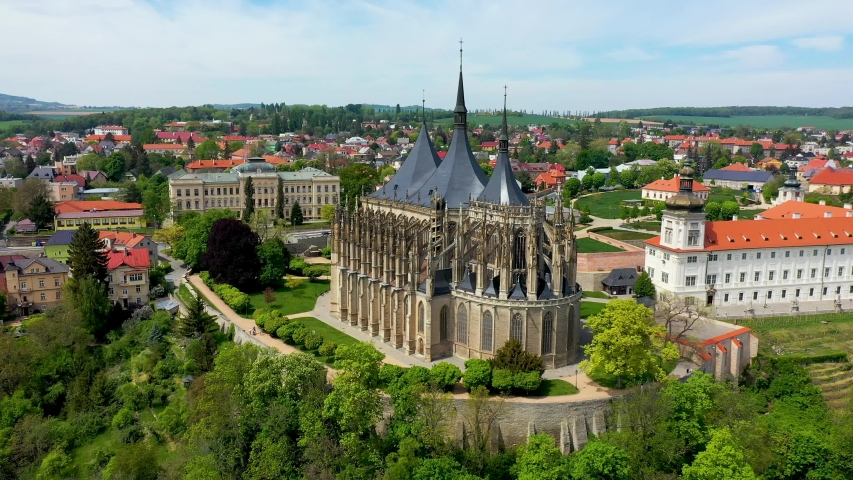View of Kutna Hora with Saint Barbara's Church that is a UNESCO world heritage site, Czech Republic. Historic center of Kutna Hora, Czech Republic, Europe.