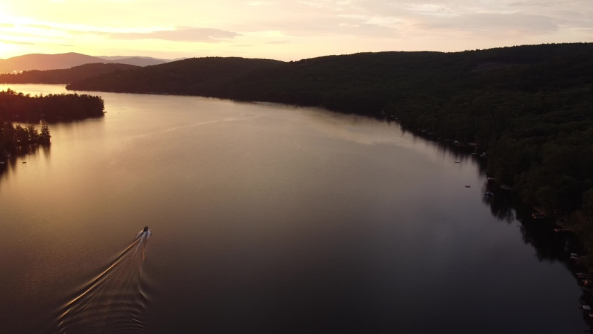 Drone view of Squam Lake, New Hampshire at sunrise