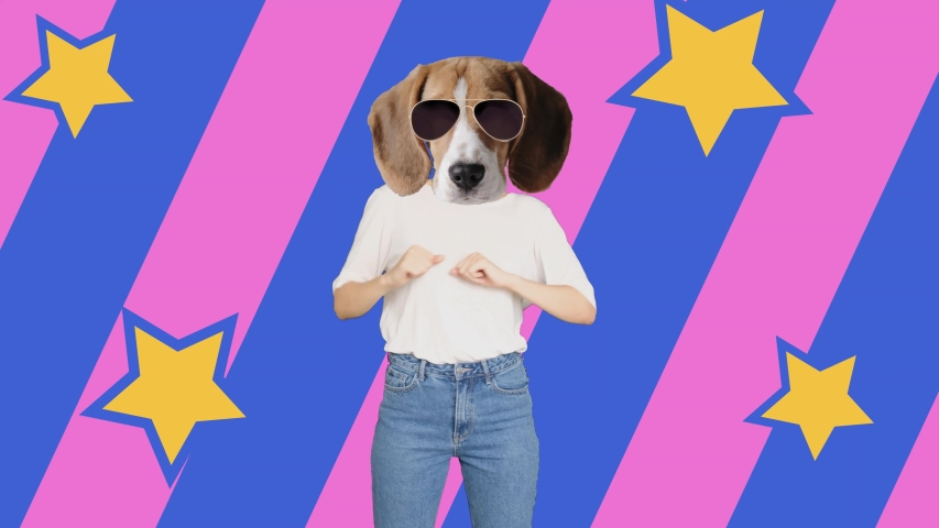Woman with a dog's head dancing. creative contemporary minimal art Royalty-Free Stock Footage #1056297548