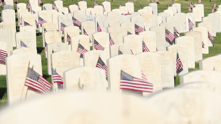 Military Cemetery Decorated for Memorial Day