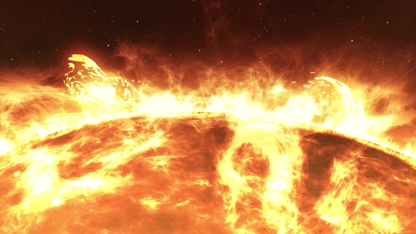The Sun with Large Solar explosions, Realistic Red Planet Sun surface with solar flares, 3d rendering
