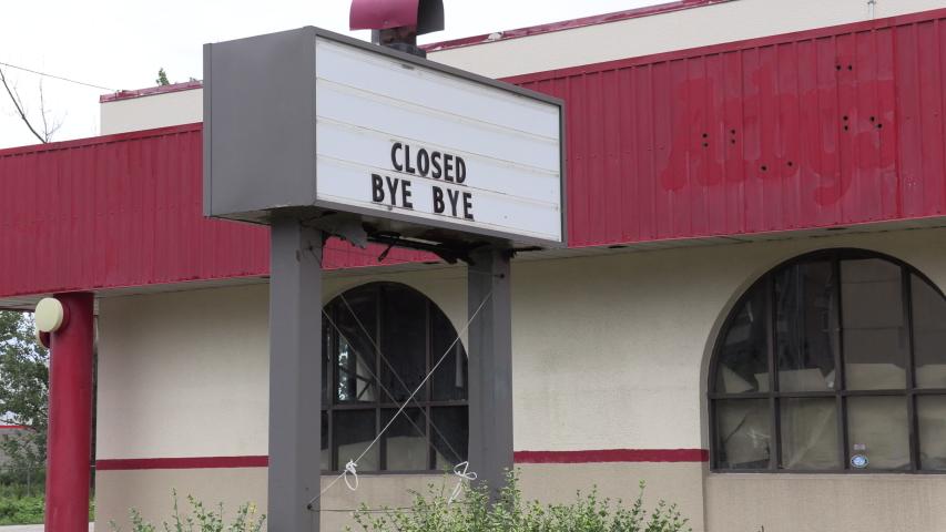Closed bankrupt restaurant in COVID 19 coronavirus recession