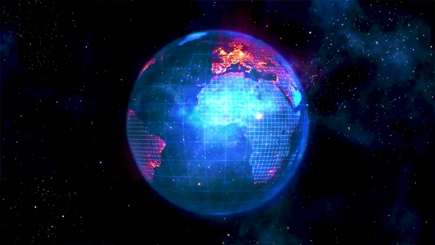 World connections with city lights. Blue. Earth globe. Spinning Earth with light lines growing from major cities all over the world.   Shutterstock HD Video #1056333041