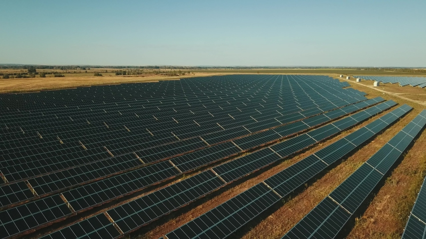 Flying over the solar generators in Russia drone view | Shutterstock HD Video #1056343757