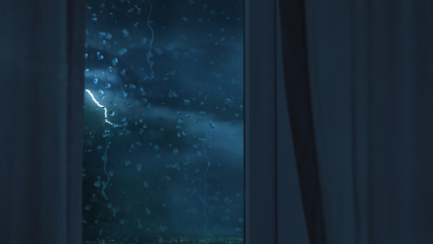 Thunder storm outside window with lightning strike rain and gale force winds Royalty-Free Stock Footage #1056363608