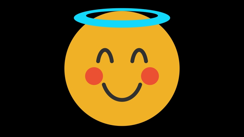 Smiling Face with Halo Animated Emoji. Smiles Emotions Icons Animation on Black Background | Shutterstock HD Video #1056364451
