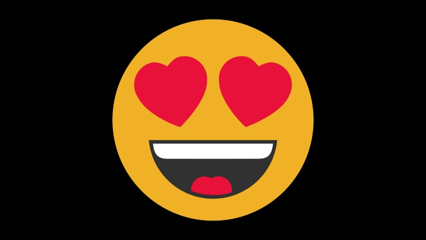Smiling Face with Heart Eyes Animated Emoji. Smiles Emotions Icons Animation on Black Background | Shutterstock HD Video #1056364454