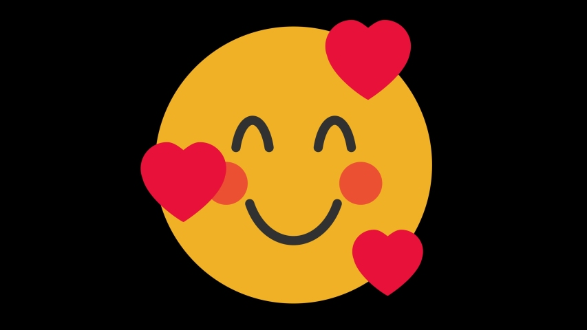 Smiling Face with 3 Hearts Animated Emoji. Smiles Emotions Icons Animation on Black Background | Shutterstock HD Video #1056364460