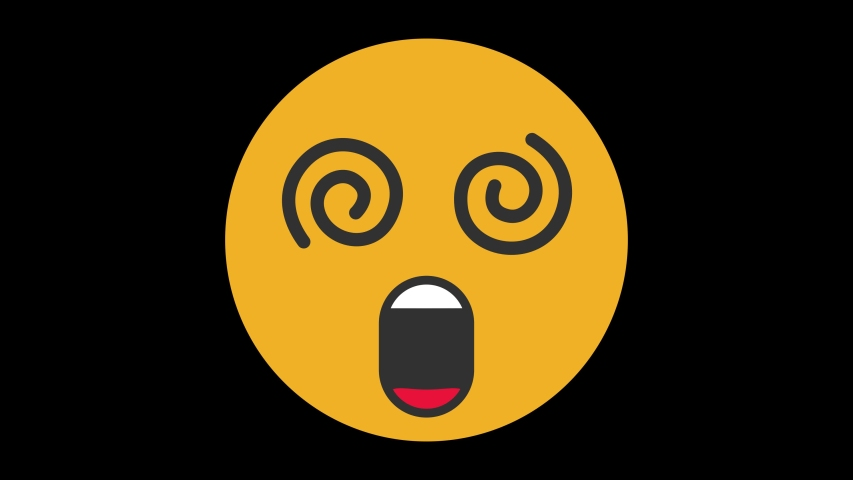 Dizzy Face Animated Emoji. Smiles Emotions Icons Animation on Black Background | Shutterstock HD Video #1056364649