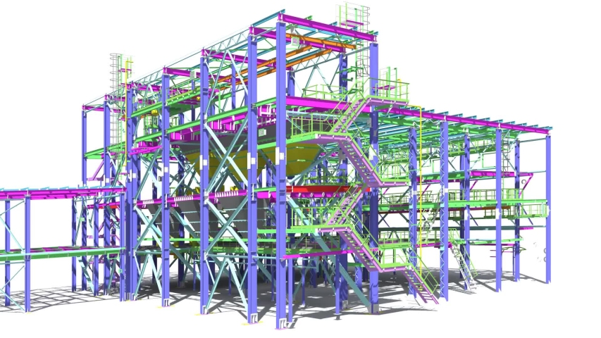 Presentation of 3D BIM modeling of buildings made of metal structures for presentation to the General contractor, subcontractors and construction customer. 3D rendering.