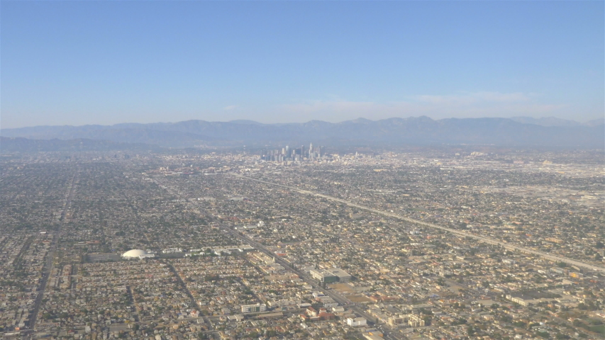 Aerial View Of Downtown Los Angeles in 4K Slow motion 60fps
