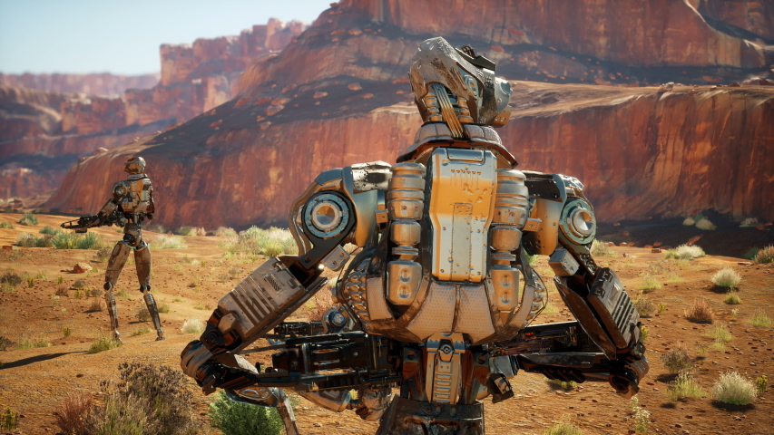 Military robot in the desert surveys the territory. The animation for fiction, futuristic or sci-fi backgrounds.