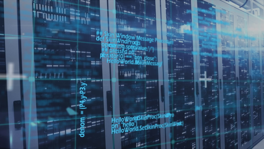 Animation of data processing and digital information flowing through network of computer servers in a server room with light trails flashing on surface. Global network of internet service provider   Shutterstock HD Video #1056381185