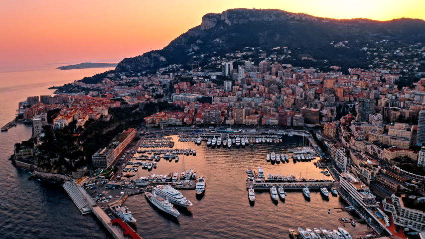 Luxury yacht moored in the bay of Monaco, France Royalty-Free Stock Footage #1056383780