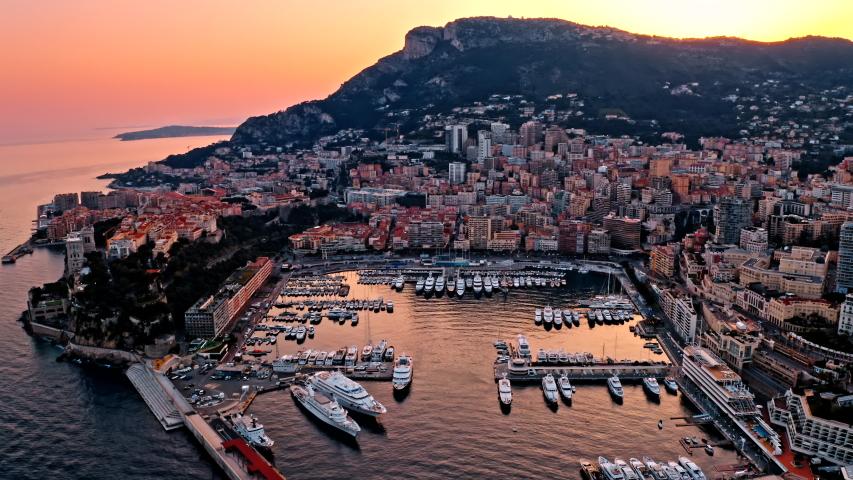 Luxury yacht moored in the bay of Monaco, France | Shutterstock HD Video #1056383780