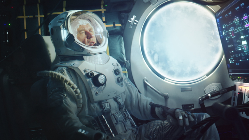 Astronaut Sitting Inside a Space Rocket During Take Off. Successful Rocket Launch Sending Space Ship into Space. Cosmonaut Experiencing G-Force and Vibrations Inside Capsule. Clouds Pass in Porthole.