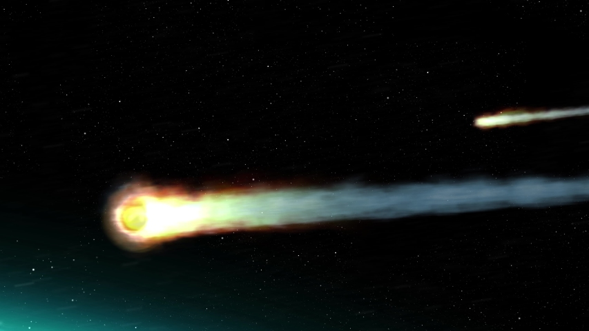 Asteroids Meteors burns in atmosphere Earth, Realistic vision Meteors burning on fire while entering earth blue atmosphere  Royalty-Free Stock Footage #1056390227