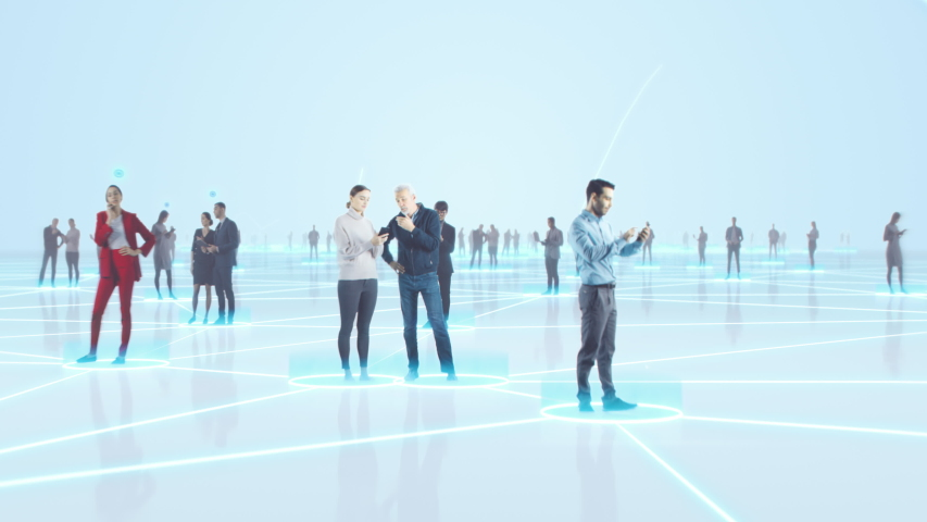 Happy People using Smartphone Devices in World Wide Connected Social Network. Diverse People do E-Business, Communicate, Send Messages. Visualization of Internet Virtual Reality Interconnected Persons | Shutterstock HD Video #1056391406