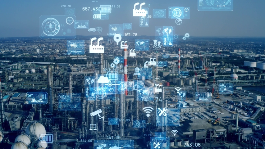 Industrial technology concept. Communication network. INDUSTRY 4.0. Factory automation. | Shutterstock HD Video #1056398351