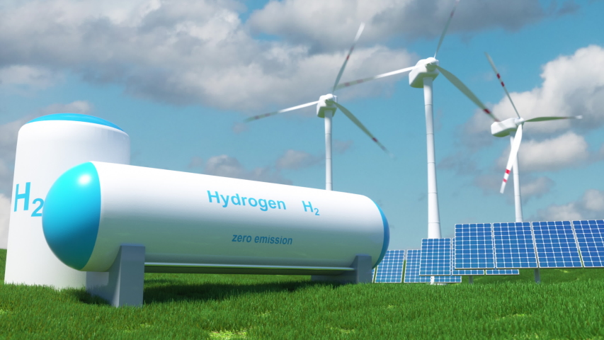 Hydrogen renewable energy production - hydrogen gas for clean electricity solar and windturbine facility.  3d render Royalty-Free Stock Footage #1056405434