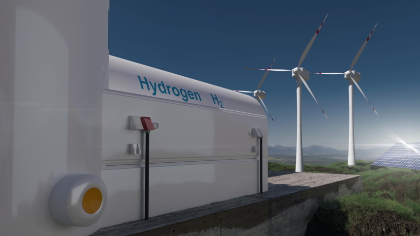 Hydrogen renewable energy production - hydrogen gas for clean electricity solar and windturbine facility.  3d rendering Royalty-Free Stock Footage #1056405437
